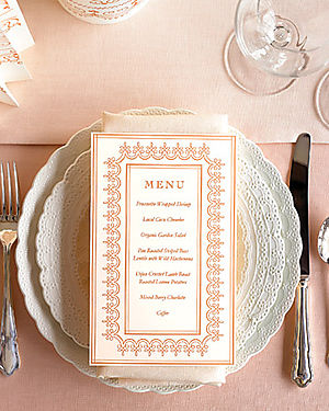 Martha stewart menu card