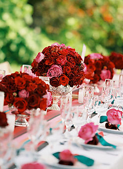 Pink Bud Vases Roses In Crystal Bowls