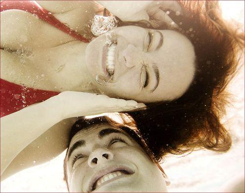 Underwater engagement portrait