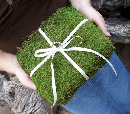 Moss and ribbon ring bearer pillow