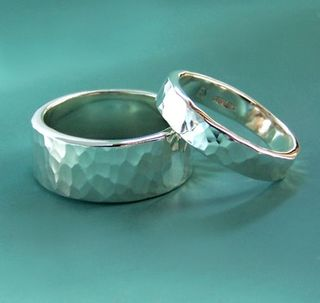 Etsy hammered silver rings
