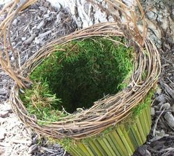 Moss filled flower girl basket