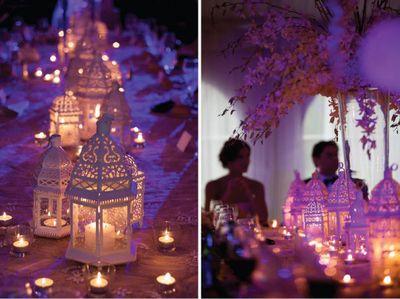 Moroccan lanterns on table