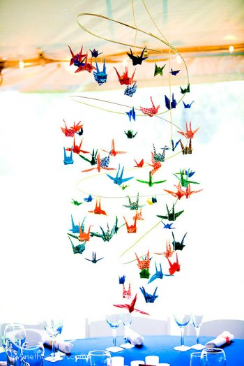 Paper cranes colorful