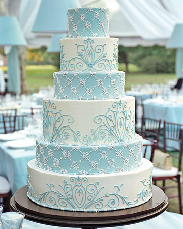Aqua wedding cake, as seen on Martha Stewart Weddings