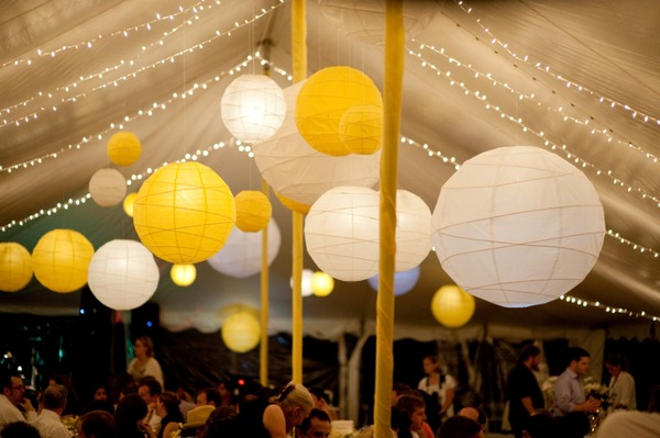 Yellow lanterns in tent