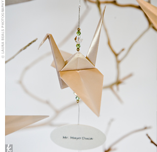 Paper crane escort card the knot