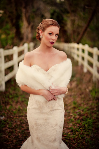 Bride with fur stole