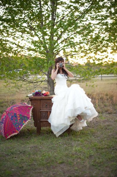 Bride with camera