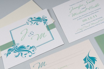 Teal wedding invite 2ucouture