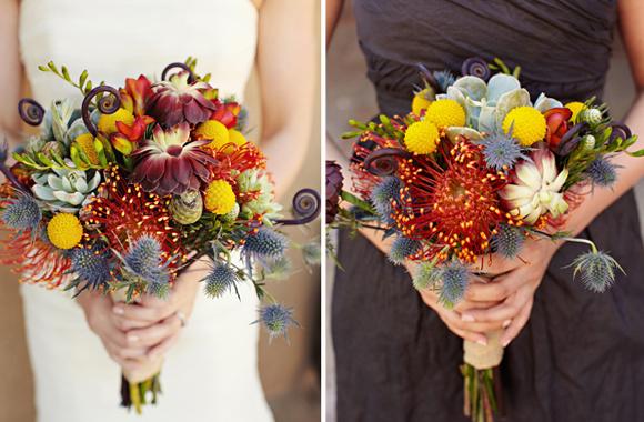 Multicolor bouquet with fiddlehead fern