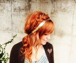 Red hair side braid