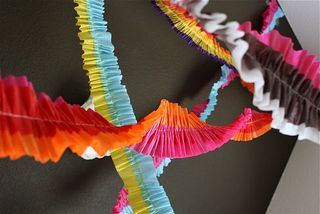 Colorful ruffled streamers