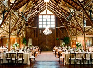 Barn with chandelier