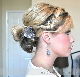 Blond braid and updo with flower