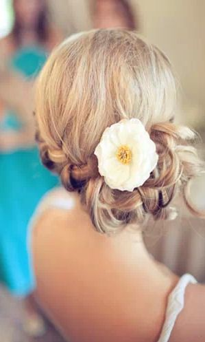 Braided updo with flower