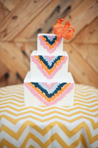Ikat style wedding cake