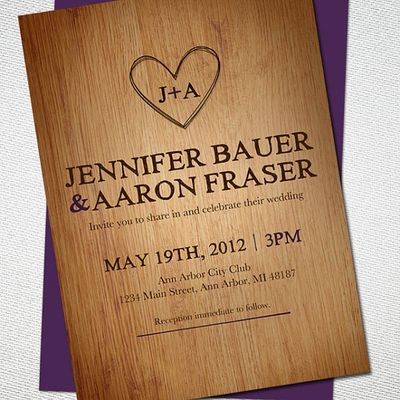 Wood carved invitation