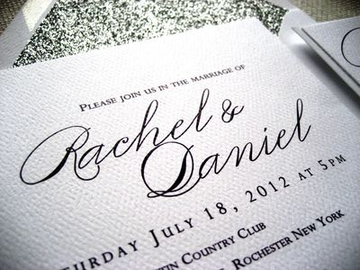 Glitter envelope wedding invite