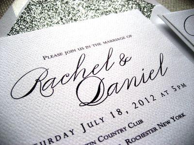 Glitter envelope wedding invite
