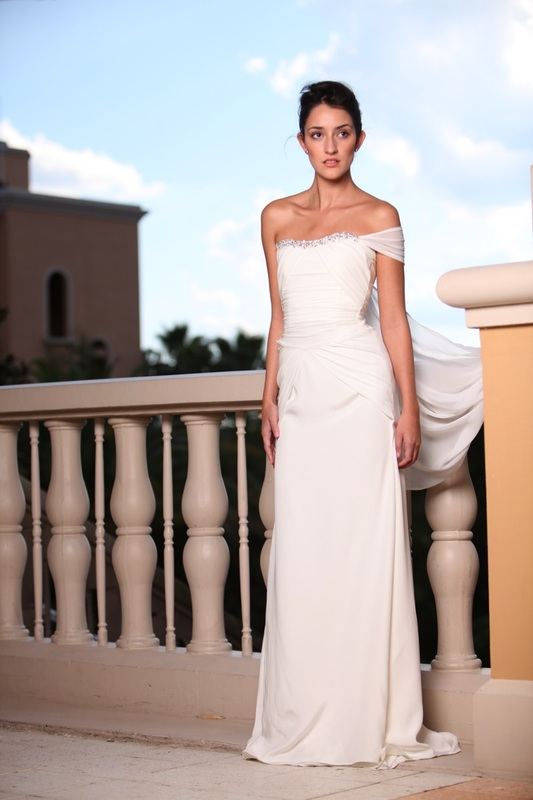 One shoulder Grecian gown