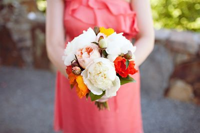 White peony with red and yellow
