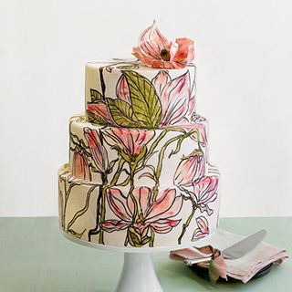 Painted Flowers Wedding Cake 1