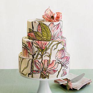 Painted Flowers Wedding Cake 1